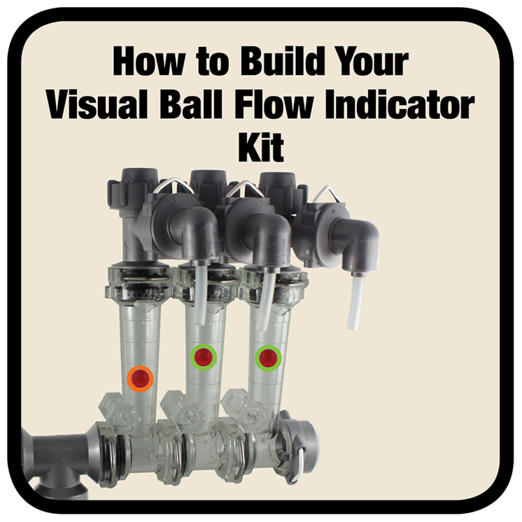Wilger Visual Flow Indicators use a ball to visually shown variation in flow between different columns.